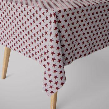 SCHÖNER LEBEN. Tischdecke Sterne beidseitig weiß rot eckig in verschiedenen Größen – Bild 1