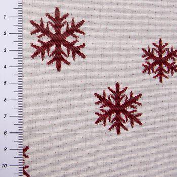 SCHÖNER LEBEN. Vorhang mit Smok-Schlaufenband Schneeflocken beidseitig weiß rot 245cm oder Wunschlänge – Bild 5