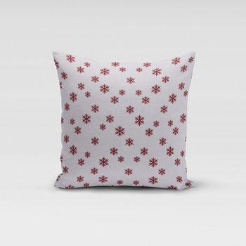 SCHÖNER LEBEN. Kissenhülle Schneeflocken beidseitig weiß rot 50x50cm – Bild 1
