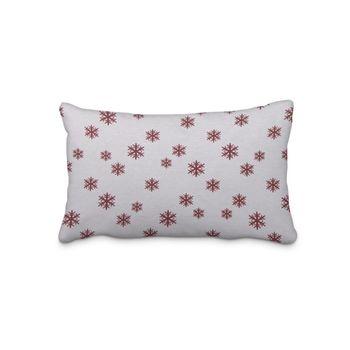 SCHÖNER LEBEN. Kissenhülle Schneeflocken beidseitig weiß rot 30x50cm – Bild 1
