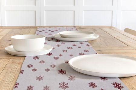 SCHÖNER LEBEN. Tischläufer Schneeflocken beidseitig weiß rot 40x160cm – Bild 1
