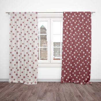SCHÖNER LEBEN. Vorhang mit Smok-Schlaufenband Schneeflocken beidseitig rot weiß 245cm oder Wunschlänge
