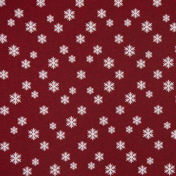 SCHÖNER LEBEN. Vorhang mit Smok-Schlaufenband Schneeflocken beidseitig rot weiß 245cm oder Wunschlänge – Bild 4