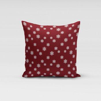 SCHÖNER LEBEN. Kissenhülle Schneeflocken beidseitig rot weiß 50x50cm – Bild 1