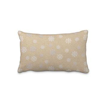 SCHÖNER LEBEN. Kissenhülle Schneeflocken beidseitig gold beige 30x50cm – Bild 1