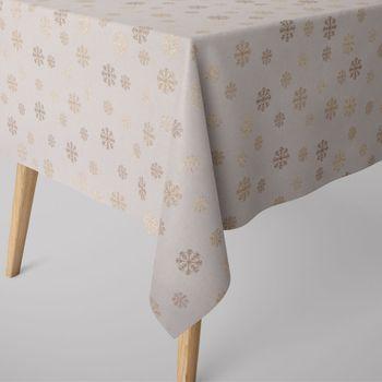 SCHÖNER LEBEN. Tischdecke Schneeflocken beidseitig beige gold eckig in verschiedenen Größen – Bild 1