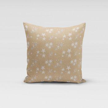 SCHÖNER LEBEN. Kissenhülle Sterne beidseitig gold beige 50x50cm – Bild 1