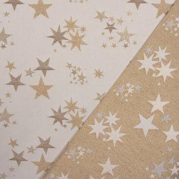 SCHÖNER LEBEN. Kissenhülle Sterne beidseitig gold beige 30x50cm – Bild 4