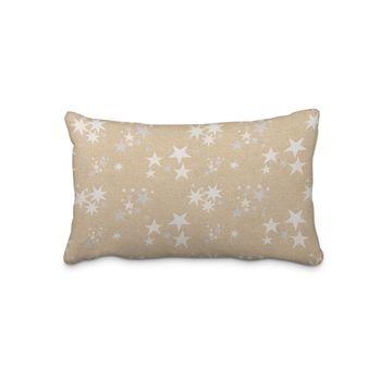 SCHÖNER LEBEN. Kissenhülle Sterne beidseitig gold beige 30x50cm – Bild 1