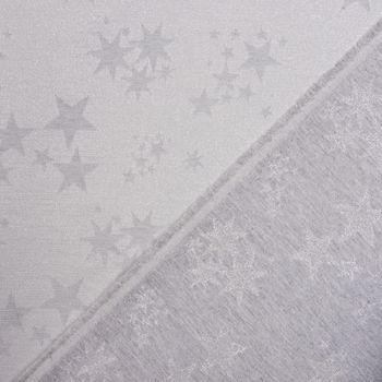 SCHÖNER LEBEN. Vorhang mit Smok-Schlaufenband Sterne beidseitig silber grau 245cm oder Wunschlänge