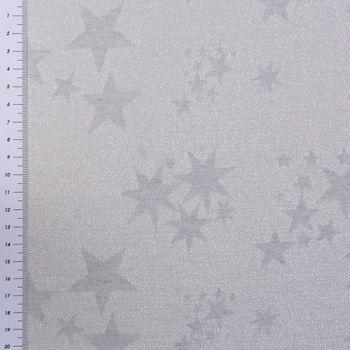 SCHÖNER LEBEN. Vorhang mit Smok-Schlaufenband Sterne beidseitig silber grau 245cm oder Wunschlänge – Bild 6