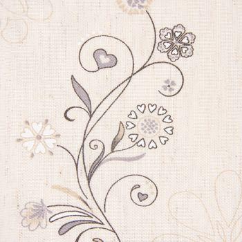 Dekostoff Gardinenstoff Blumenranken Bordüre Karo natur weiß grau 1,60m Breite – Bild 2