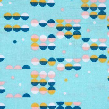 Baumwollstoff retro geometrisch Punkte türkis rosa petrol ocker weiß 1,42m Breite – Bild 1