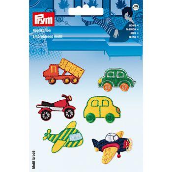 Prym Applikation Bügelbild Fahrzeuge selbstklebend 6 Stück – Bild 1