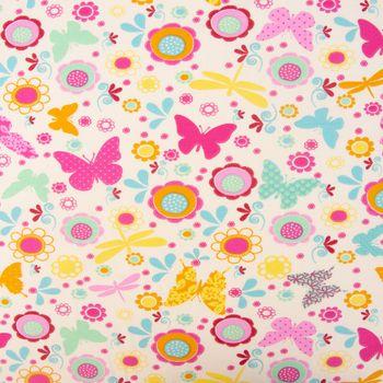 Baumwolljersey Jersey Schmetterling creme türkis orange gelb rosa 1,65m Breite – Bild 1