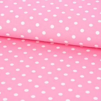 Jersey Jerseystoff Baumwolljersey Punkte rosa weiß Ø8mm 1,5m Breite – Bild 1