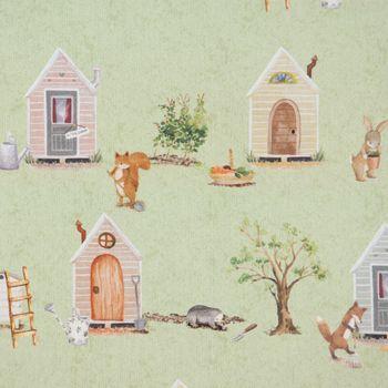Baumwollstoff Stoff Dekostoff Digitaldruck Waldleben Haus Hase Fuchs grün braun 1,40m Breite – Bild 2