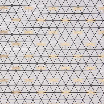 Dekostoff Jacquard-Stoff Dreiecke weiß schwarz Libelle gold 1,40m Breite – Bild 1