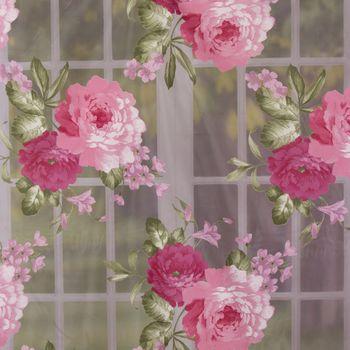 Gardinenstoff Dekostoff Organza große Rosen weiß rosa grün 2,8m Höhe – Bild 1