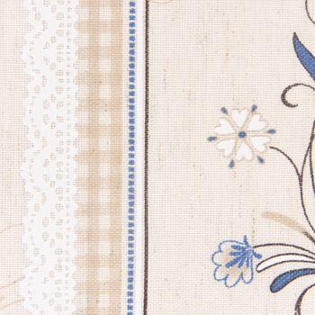 Dekostoff Gardinenstoff Blumenranken Bordüre Karo natur blau grau braun 1,60m Breite – Bild 2