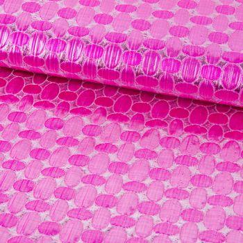 Faschingsstoff Jacquard Lurex Glitzer Ovale pink silber 1,40m Breite – Bild 1