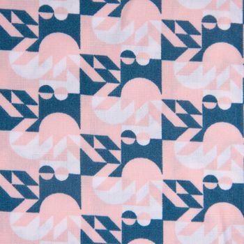 Baumwollstoff Halbkreis Punkte Quadrate rosa petrol weiß 1,42m Breite – Bild 3