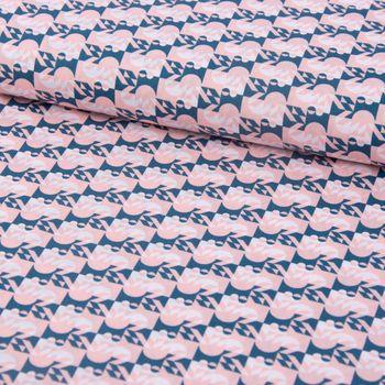 Baumwollstoff Halbkreis Punkte Quadrate rosa petrol weiß 1,42m Breite – Bild 1