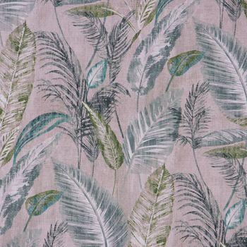 Gardinenstoff Dekostoff Digitaldruck Palmenblätter taupe grün 1,4m Breite – Bild 1
