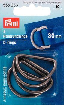 Prym Halbrundringe D-Ringe 30mm altsilber 4 Stück