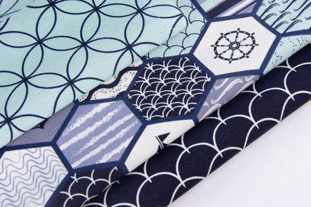 Gardinenstoff Dekostoff Blumen Kreise türkis dunkelblau 1,4m Breite – Bild 6