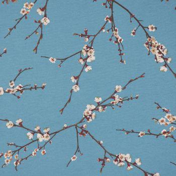 Dekostoff Baumwollstoff Japan Kirschzweige Kirschblüten blau braun weiß 1,40m Breite – Bild 1