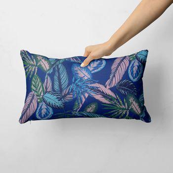 Dekostoff Baumwollstoff Dschungelpflanzen Blätter blau hellblau grün rosa 1,40m Breite – Bild 12