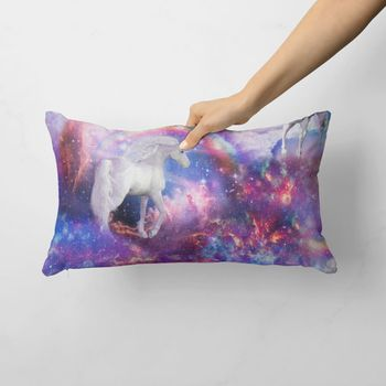 Dekostoff Baumwollstoff Galaxie Einhorn Regenbogen blau weiß bunt 1,40m Breite – Bild 11