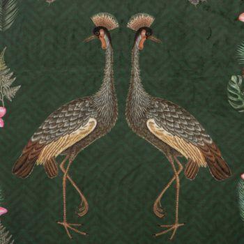 Samtstoff Dekostoff Velvet Deluxe Samt Tropical Ananas Vögel Blumen grün braun bunt 1,4m – Bild 2