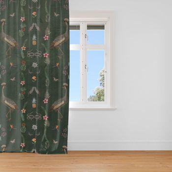 Samtstoff Dekostoff Velvet Deluxe Samt Tropical Ananas Vögel Blumen grün braun bunt 1,4m – Bild 3