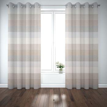 Dekostoff Baumwollstoff Streifen 9,5cm creme beige braun grau 1,40m Breite – Bild 5