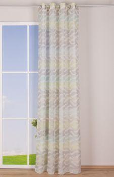 Fertiggardine Ösengardine Leinenoptik mit farbigem Wellenmuster weiß grün grau 140x245cm – Bild 4
