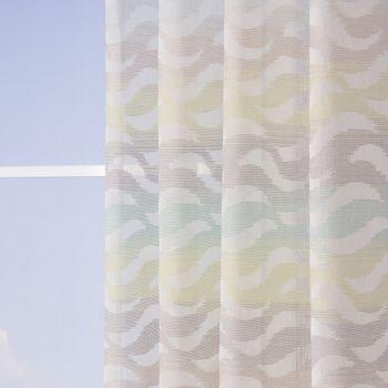 Fertiggardine Ösengardine Leinenoptik mit farbigem Wellenmuster weiß grün grau 140x245cm – Bild 3