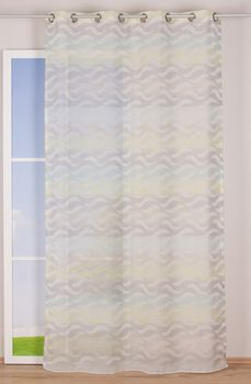 Fertiggardine Ösengardine Leinenoptik mit farbigem Wellenmuster weiß grün grau 140x245cm – Bild 8