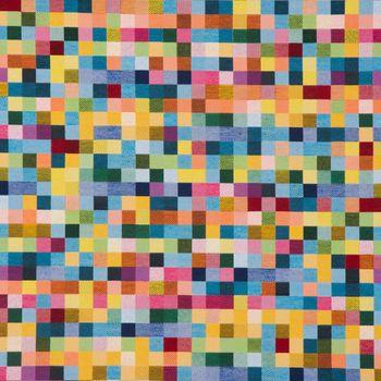 Dekostoff Jacquard Kästchen Pixel bunt 1,4m Breite – Bild 2