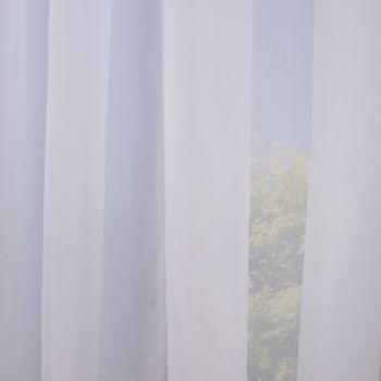 Fertiggardine Schal mit Kräuselband Leinenlook weiß 140x245cm – Bild 8