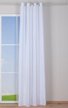 Ösenvorhang Brilliant Leinenoptik einfarbig weiß 140x245cm – Bild 4