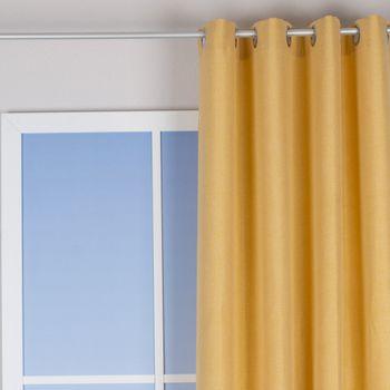 Ösenvorhang Brilliant Leinenoptik einfarbig gelb 140x245cm – Bild 1