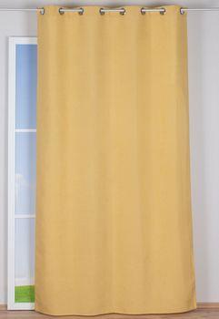 Ösenvorhang Brilliant Leinenoptik einfarbig gelb 140x245cm – Bild 7