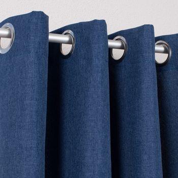 Ösenvorhang Brilliant Leinenoptik einfarbig blau 140x245cm – Bild 2
