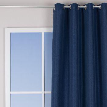 Ösenvorhang Brilliant Leinenoptik einfarbig blau 140x245cm – Bild 1