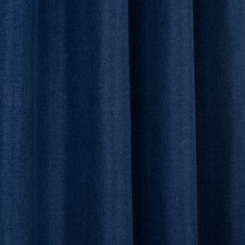 Ösenvorhang Brilliant Leinenoptik einfarbig blau 140x245cm – Bild 6