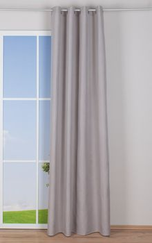 Ösenvorhang Brilliant Leinenoptik einfarbig hellgrau 140x245cm – Bild 3