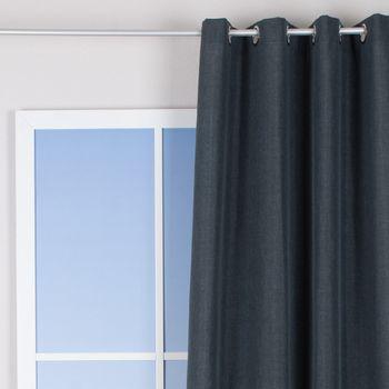 Ösenvorhang Brilliant Leinenoptik einfarbig grau 140x245cm – Bild 1