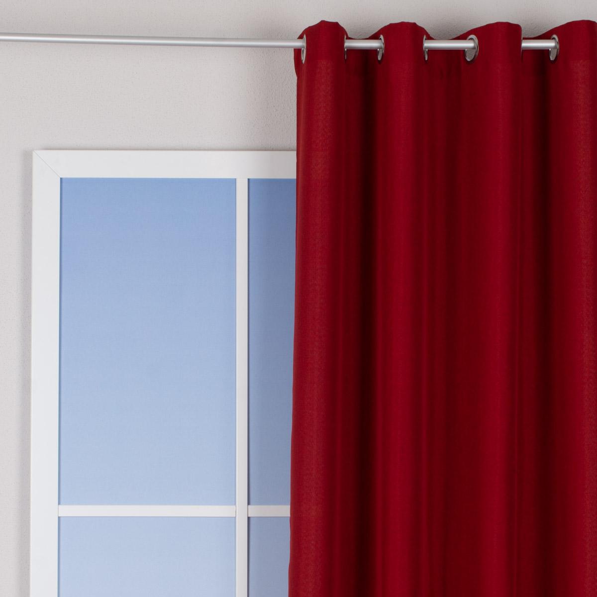 Ösenvorhang Brilliant Leinenoptik einfarbig rot 140x245cm